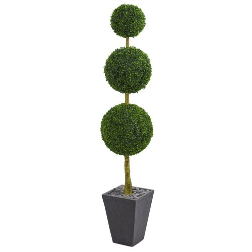Orren Ellis Triple Ball Artificial Floor Boxwood Topiary In Planter