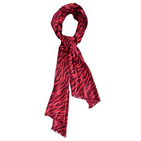 Couture Zebra - Peach Couture Hot Chic Animal Print Zebra Print Frayed End Pashmina Shawl Wrap (Red and Black)
