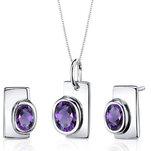 Oravo Oval Cut Gemstone Art Deco Bezel Pendant Earrings Set