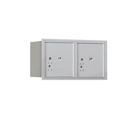 Aluminum Letter Locker Mailbox (Salsbury Industries Recessed Private Aluminum 2 Unit 4C Horizontal Mailbox Parcel Locker )