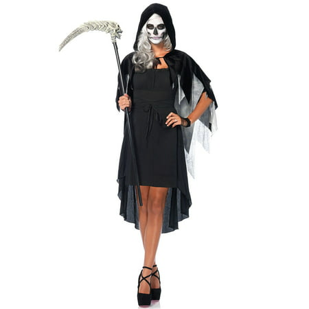 Leg Avenue Women's Phantom Hooded Cape Costume Accessory, Black/Grey, One Size](Phantom Of Darkness Costume)