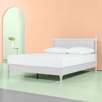 """Zinus Provence 12"""" Wood Platform Bed with Headboard, Pale Grey, Multiple Sizes"""