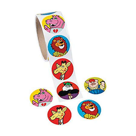 """1 Roll Animal Stickers 100 Paper 1.5"""" Round Stickers Per Roll New / Shrink-wrapped - image 1 of 1"""