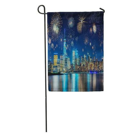POGLIP Blue Colorful Fireworks Above New York City Cityscape Celebrating Years Garden Flag Decorative Flag House Banner 12x18 inch - image 2 de 2