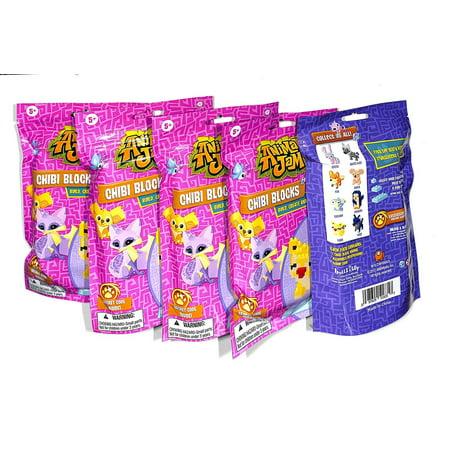 WILDWORKS Animal Jam Chibi Blocks 5 Sealed Packs Like (Stealth Jam Block)