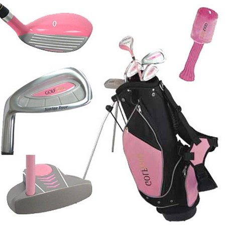 Golf Girl LEFTY Junior Club Youth Set for Kids Ages 8-12 w/Pink Stand Bag - Girls Golf Starter