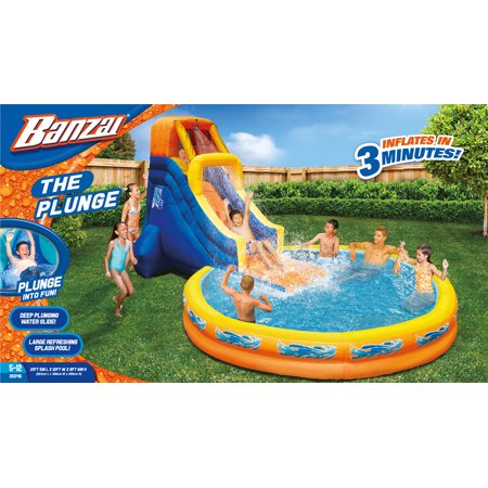 BANZAI The Plunge Inflatable Water Park Play Center - Climbing Wall, Water Slide & Oversized Splash Pool - Outdoor Summer Fun For Kids & Families