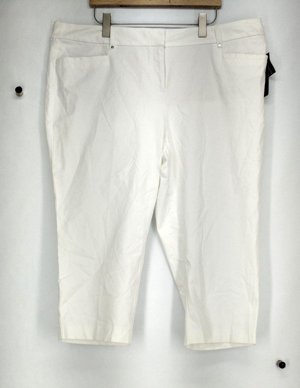 Alfani Sz 22W Tummy Control Cropped Stretchy Pants White Womens