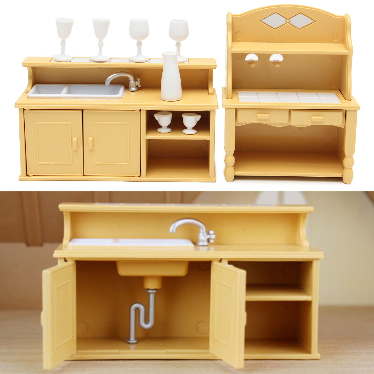 Meigar Kitchen Cabinets Set For Sylvanian Families Calico Critters Dolls