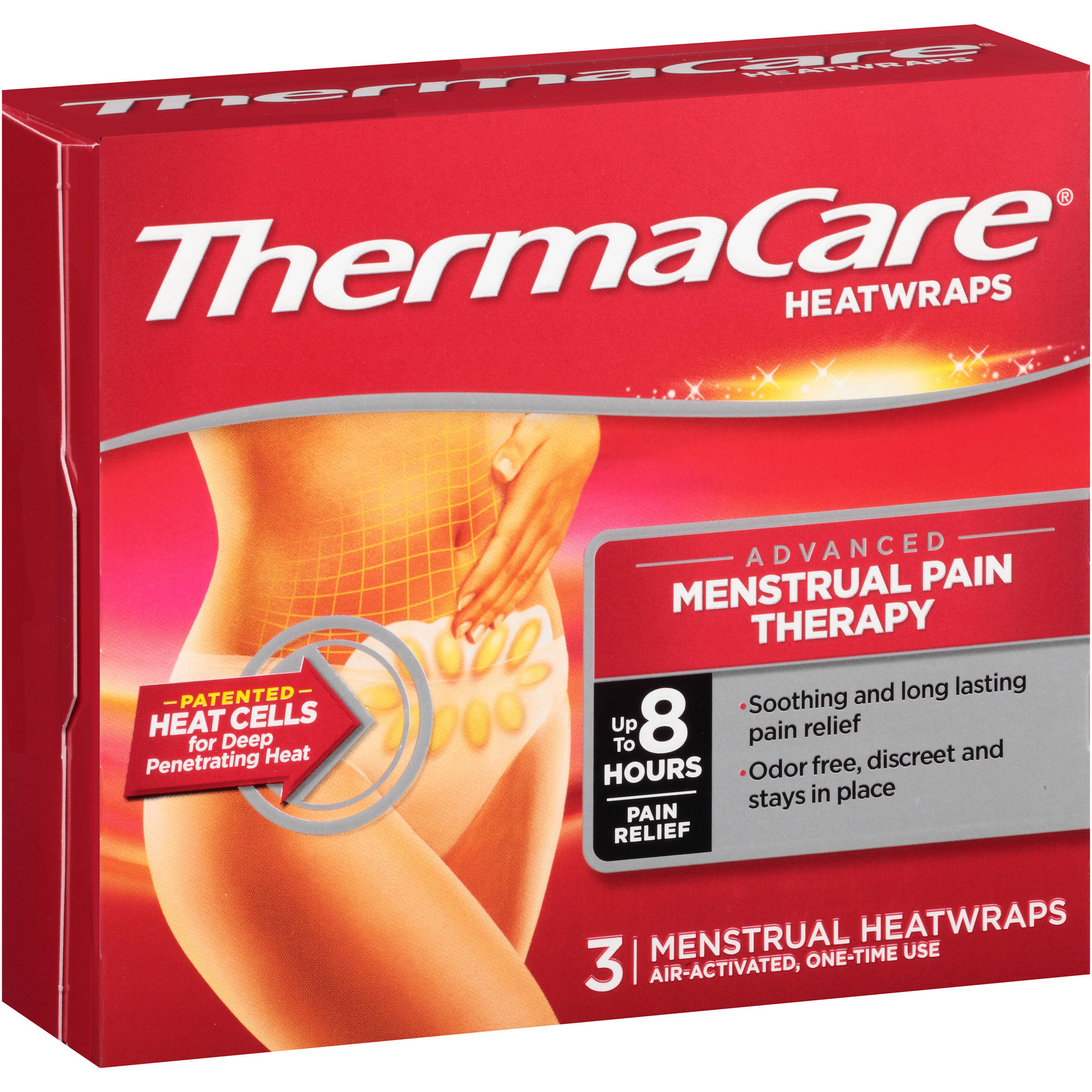 Thermacare Menstrual Pain Therapy Heatwraps 3 Ct