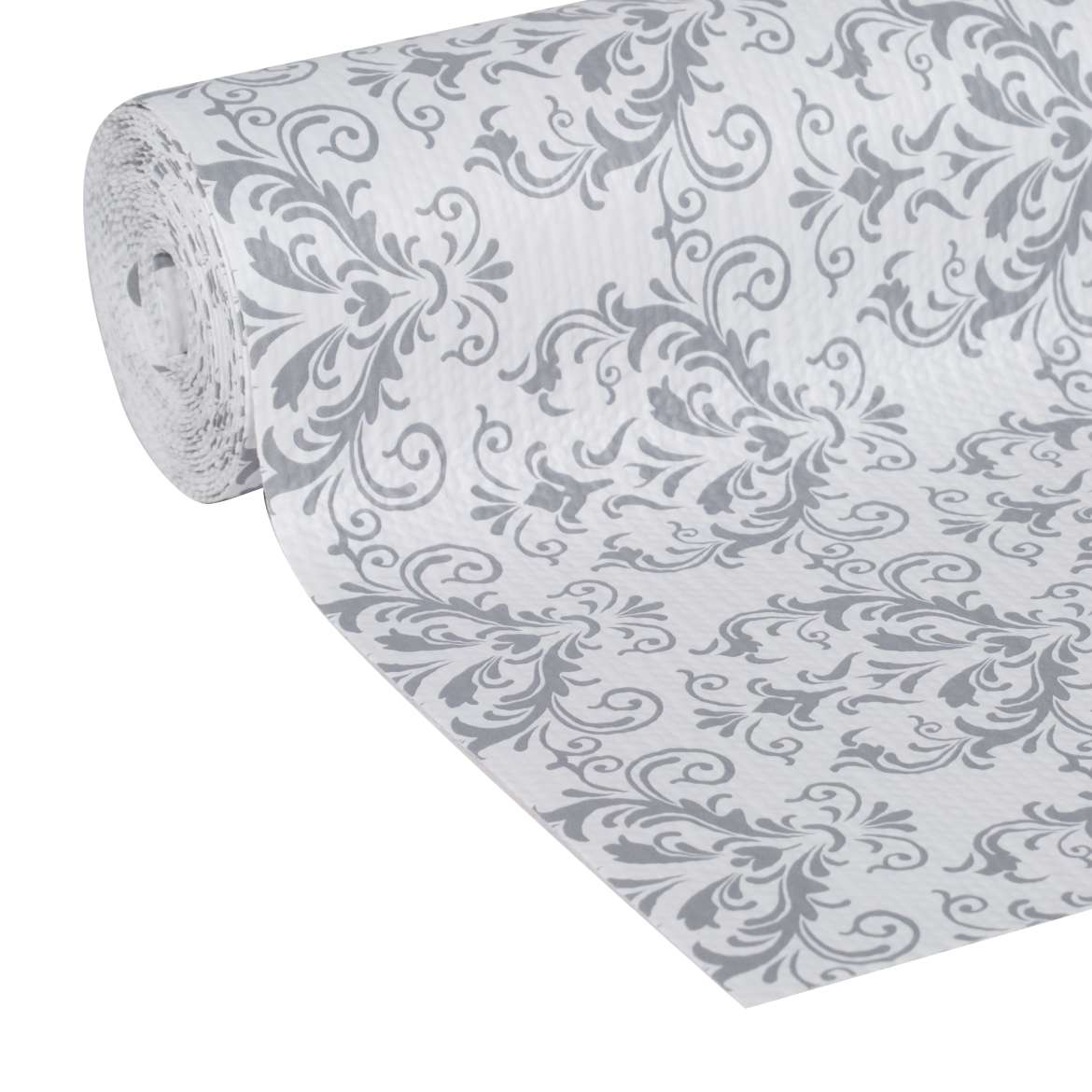 "Duck Brand Smooth Top Non-Adhesive Shelf Liner, 12"" x 10', Grey Damask"