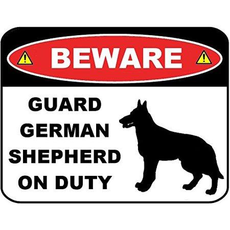 Beware Guard German Shepherd (Silhouette) on Duty 9 inch x 11.5 inch Laminated Dog Sign