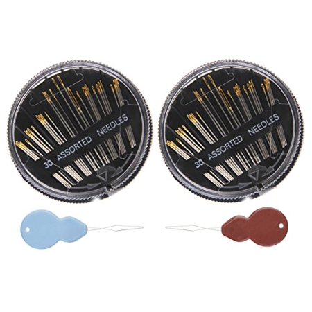 Best Needles,Assorted Self Threading Hand Sewing Needles, 30-Count (2 pcs  pack) & Bonus 2 Needle Threaders for you!