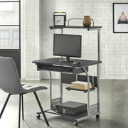 Mobile Computer Tower with Shelf, Gray