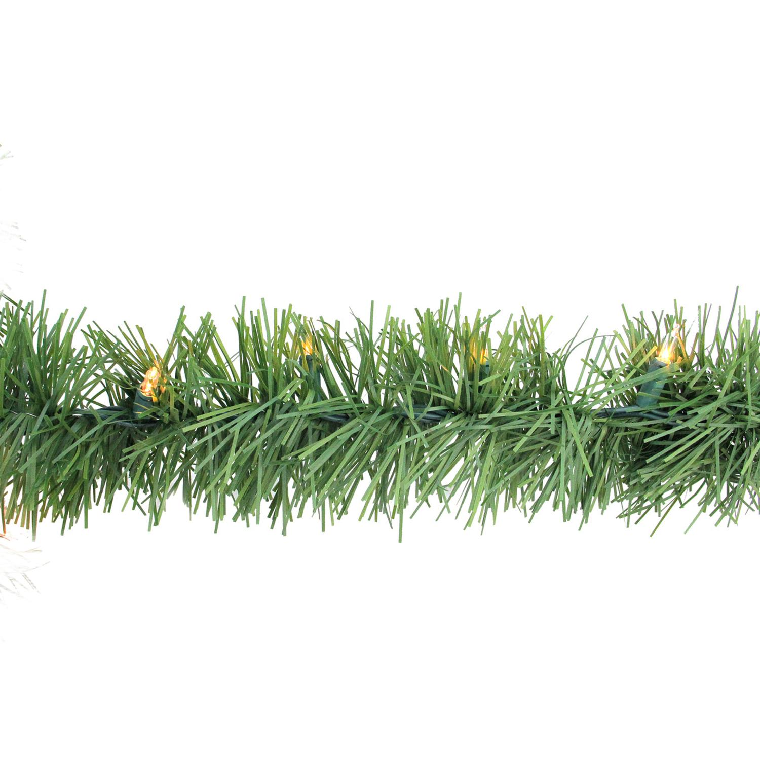 "Arett Sales 12' x 3"" Prelit Green Pine Outdoor Artificial Christmas Garland - Clear Lights"