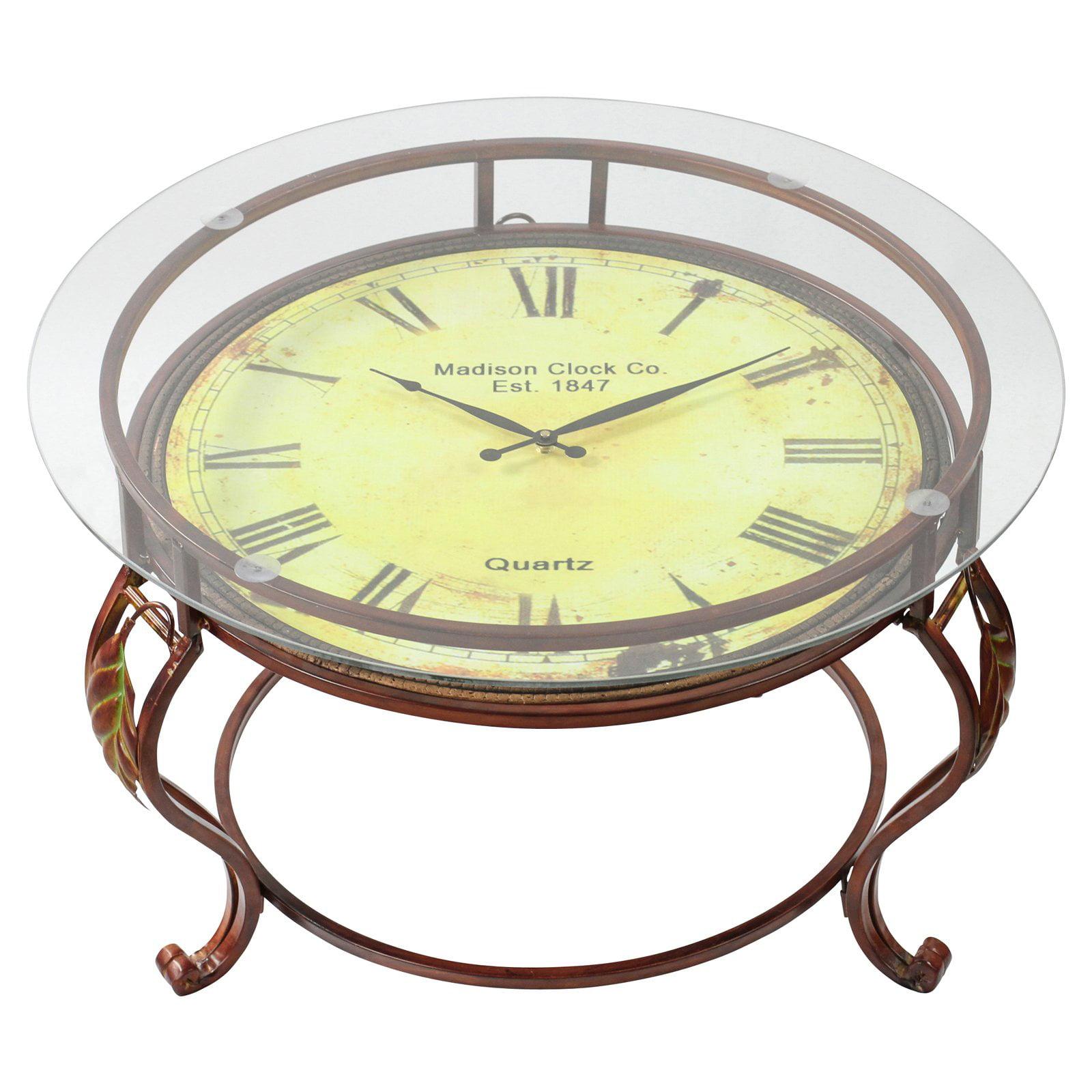 Decmode Metal Table Clock Glass Top, Multi Color