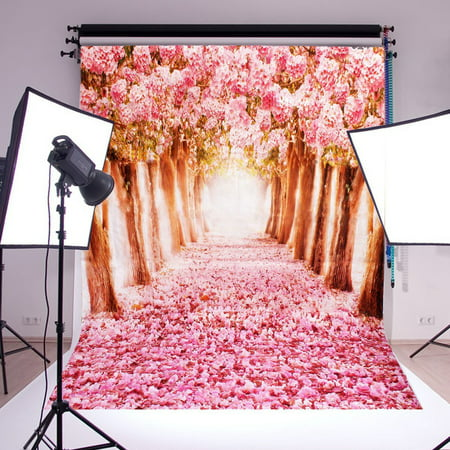 5x7ft Studio Photo Video Photography Backdrops Cherry Blossoms Sakura Road Printed Vinyl Fabric Party Decorations Background Screen Props