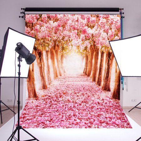 5x7ft Studio Photo Video Photography Backdrops Cherry Blossoms Sakura Road Printed Vinyl Fabric Party Decorations Background Screen - Backdrop Fabric