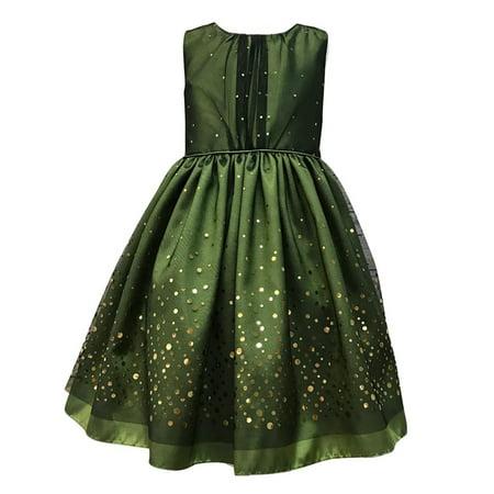 Little Girls Green Taffeta Mesh Sequin Christmas Dress - Girls Green Dresses