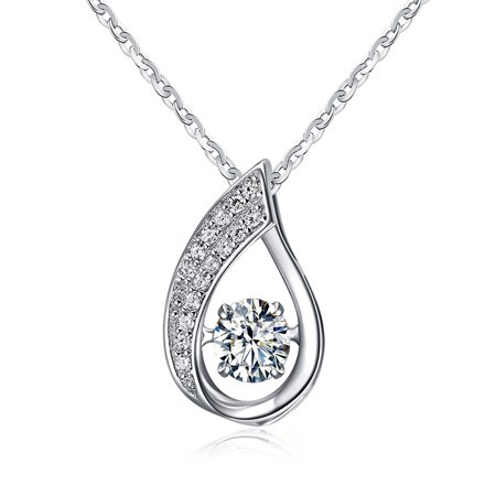 Ginger Lyne Collection Dancing Stone Water Drop Sterling Silver CZ Pendant Necklace Water Waves chain - Mulinello Collection Pendant