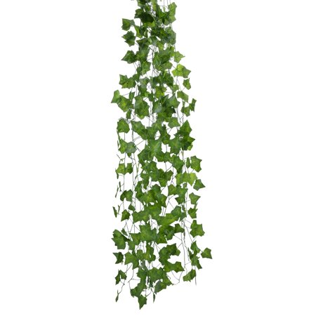 - Green Artificial Ivy, Outgeek 12 Strands 84 Ft Silk Fake Ivy Leaves Hanging Vine Leaves Garland for Wedding Party Garden Home Wall Decor