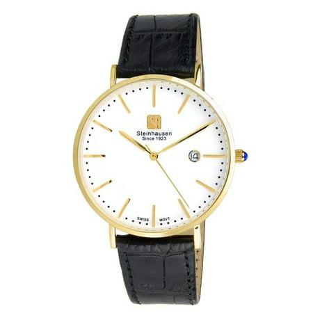 Men's S0521 Classic Burgdorf Swiss Quartz Gold-Tone Watch With Black Leather - Steinhausen Swiss Design