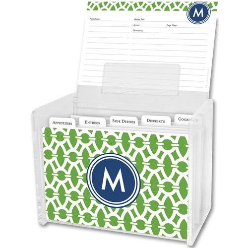 Whitney English Trellis Single Initial Recipe Box