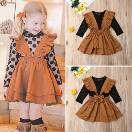 US Boutique Kids Baby Girl Lace Tops Suspender Tutu Skirt Dress Outfits Clothes ()