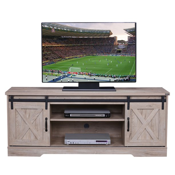 "Walsport Wood Universal TV Stand Media Console Furniture for TV's up to 64"" Living Room Buffet Storage TV Cabinet with Slid Barn Doors Entertainment Center, 59in, White Oak"