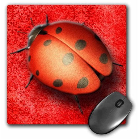 3dRose Pretty lady bug on a beautiful tapestry digital background in red, Mouse Pad, 8 by 8 inches