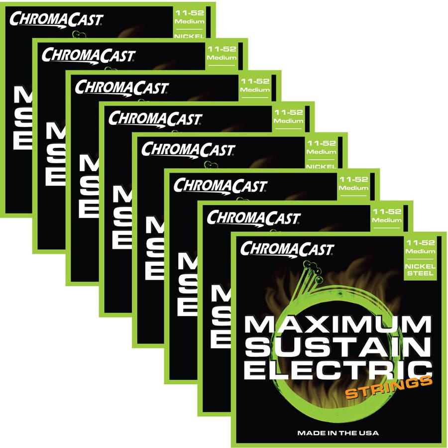 ChromaCast Maximum Sustain Medium Gauge Electric Guitar Strings, (.011-.052), 8-Pack by ChromaCast