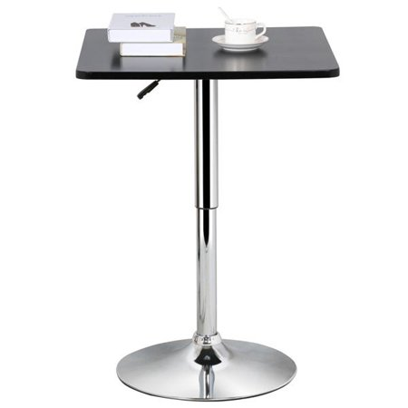 Yaheetech Adjustable Height Pub Bar Table Counter,Round & Square, Black ()