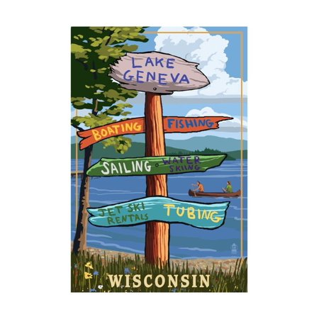 Lake Geneva, Wisconsin - Destination Signpost Print Wall Art By Lantern