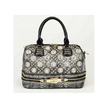 Croc Satchel Bag - Silver Glitter Accent Croc Pattern Zipper Hand Bag Purse