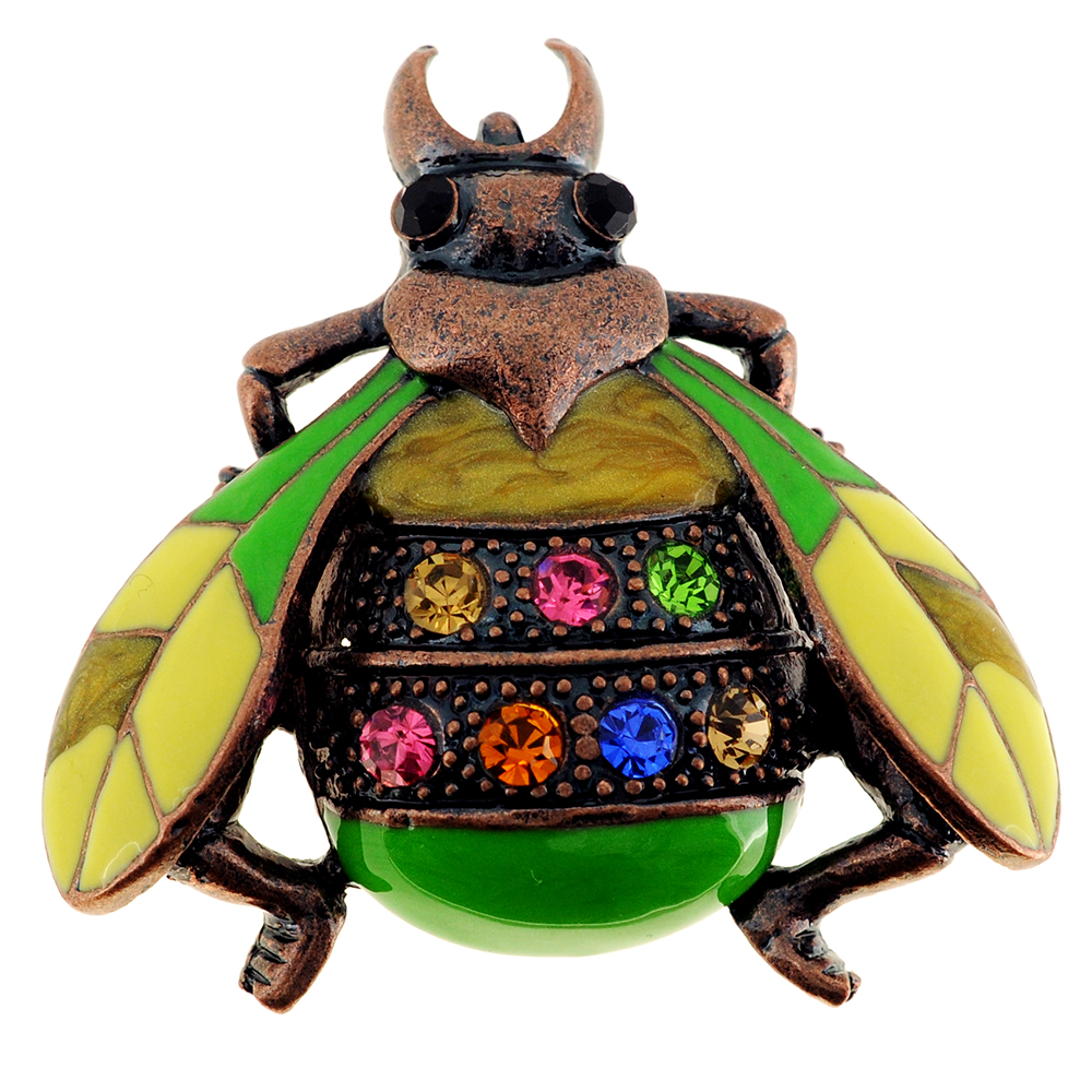 Green Rainbow Lady Bug Crystal Pin Brooch by