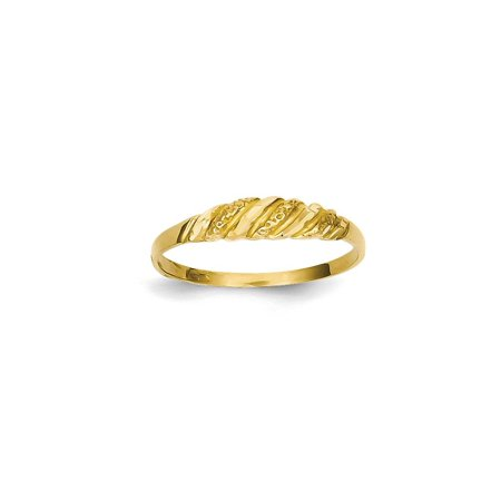 14k Yellow Gold Textured Ridged Dome Band Ring Size 6.50 Fine Jewelry For Women Gift (Studs 14k Gold Jewelry Rings)