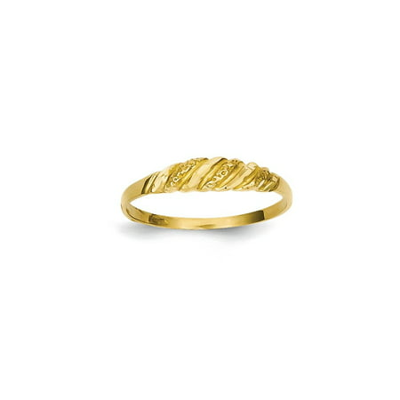14k Yellow Gold Textured Ridged Dome Band Ring Size 6.50 Fine Jewelry For Women Gift Set