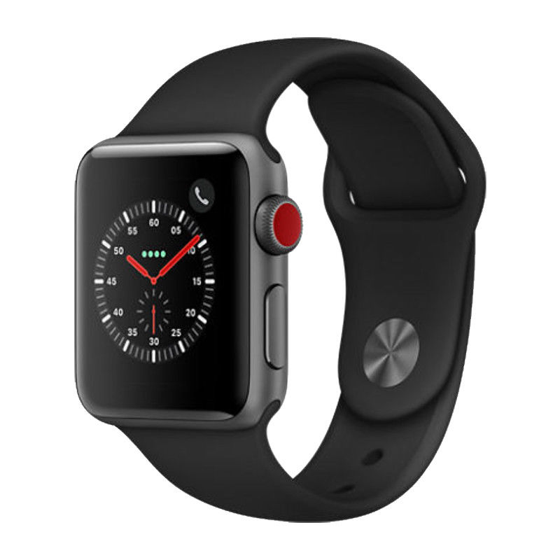 Refurbished Apple Watch Series 3 42mm GPS + LTE - Space Gray - Black Sport Band