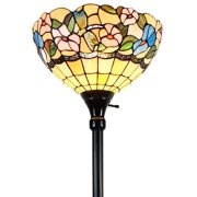 """Tiffany Style Dragonfly Torchiere Floor Lamp - 70"""" Tall"""
