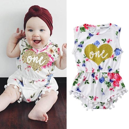 44f25acb6d03 Newborn Kids Baby Girls Floral Romper Bodysuit Jumpsuit Outfits Playsuit -  Walmart.com