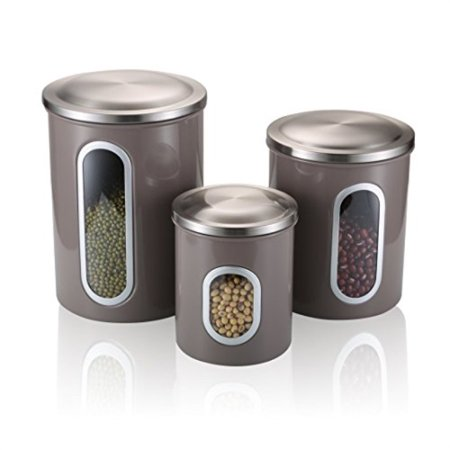 FC Airtight Window Kitchen Canister, Stainless Steel Canister Sets with  AntiFingerprint Lid, Cereal Container Set of 3 Warm grey