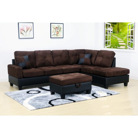 Strange Evelyn 3 Pc Dark Brown 2 Tone Microfiber Living Room Right Facing Chaise Sectional Set With Storage Ottoman Ncnpc Chair Design For Home Ncnpcorg