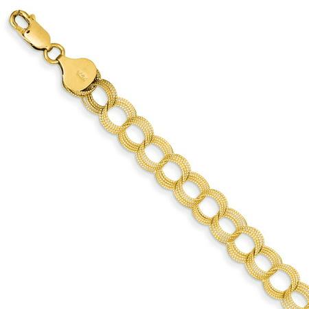 14k Yellow Gold Solid Triple Link Pendant Charm Bracelet 7