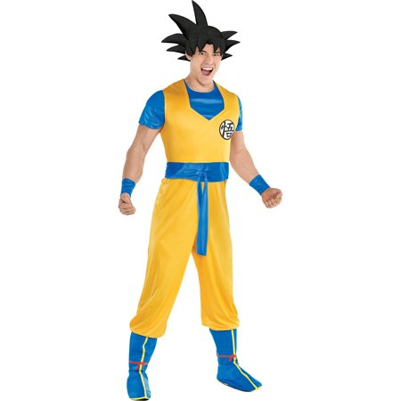 Party City Dragon Ball Z Goku Costume for Adults, Standard Size, Includes a Jumpsuit, a Hair Headpiece, and Boot