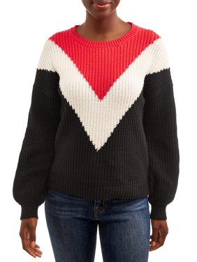 Time and Tru Women's Chevron Shaker Pullover