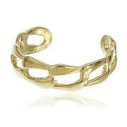 Real 10k Yellow Gold Cuban Link Toe Ring
