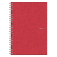 Fabriano EcoQua Notebook, 5.83in x 8.27in, Grid, 70 Sheets, Raspberry