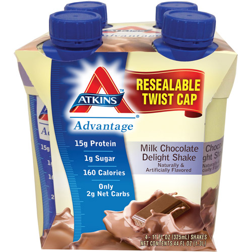 Atkins Advantage Milk Chocolate Delight Shake, 4ct