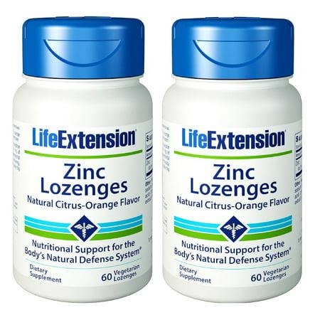 Life Extension Zinc Lozenges Natural Citrus-Orange Flavor 60 Lozenges - 2 Pack