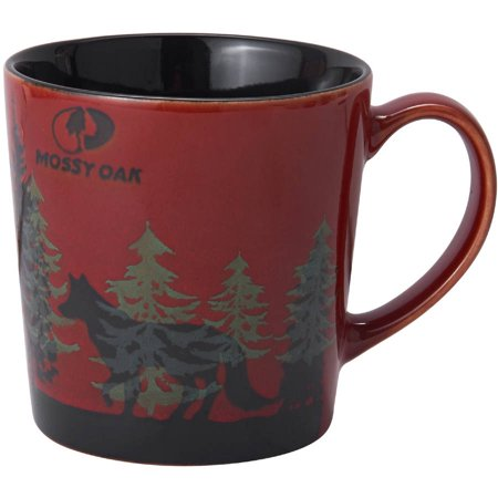 Mossy Oak 16 Ounce Ceramic Mug With Red Wolf Design